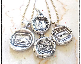 Sterling Wax Seal Necklace - SHOP by MEANING- . Sterling Chain- incl. Choice of Symbolic Wax Seal TALISMAN Jewellery , Antique Wax Seal