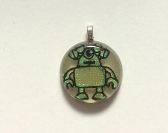 Iridescent green robot resin pendant
