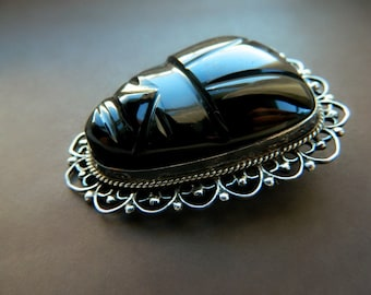 Sterling Silver Black Tribal Face Brooch / Vintage Mexico