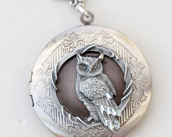 Personalized Locket,Owl Locket,Moonlight Owl,jewelry gift,Silver locket-I love you to the moon and back ,Bridesmaid,Wedding Necklace
