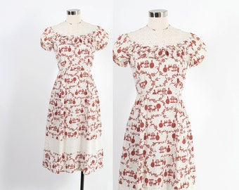 Vintage 30s Day DRESS / 1930s Novelty DONKEY CART Print Cotton Dress