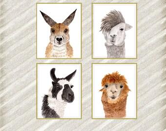 """Watercolor animal posters: """"ANIMAL DIGITAL PRINTS"""" Llama prints Kangaroo printable Nursery wall art Nursery Decor Kids Printable  set of 4"""