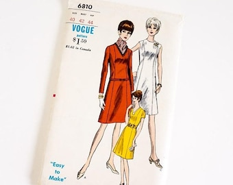 Shop SALE HTF Vintage 1960s Womens Size 40 A-Line Dress Vogue Sewing Pattern 6810 Factory Folds / b42 w34 / Sleeve Neckline Options, Optiona
