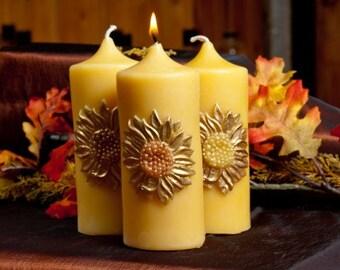 Sunflower Pillar Beeswax Candle