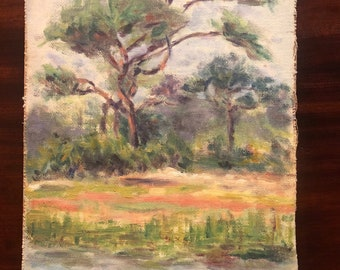 Charleston painting of tree blowing in the wind by Charleston Renaissance artist Minnie Mikell
