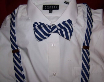Wedding Bow Ties - Wedding bow tie and Suspenders set - formal Suspenders & Bow Tie set  - Navy and white Stripes