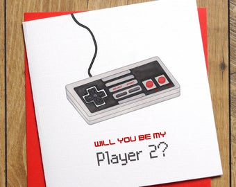 Player 2 Valentines Card, Anniversary Card, Will you be my Player 2, Boyfriend Card, Girlfriend Birthday Card, Gamer Card, Retro Gaming