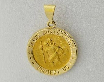 14k Yellow Gold Estate Saint/St. Christoper Medallion Pendant