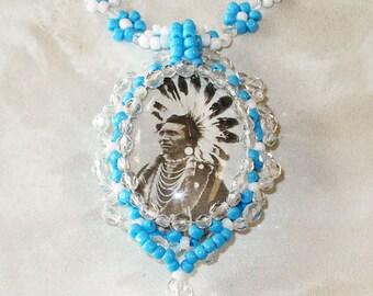 Chief Black Hawk Bead Woven Necklace
