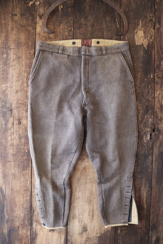 "Vintage 1940s 40s french brown cotton corduroy pique breeches hunting work chore workwear 35"" x 25"" suspender button fly"