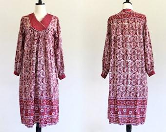 70s India Cotton Gauze Paisley Boho Hippie Caftan Gypsy Kaftan Ethnic Festival Maxi Tent Dress . XS . SM . D141
