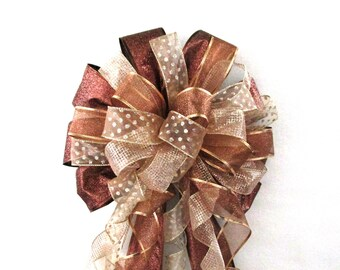 Brown Bow, Copper Bow / Christmas Bow / Tree Topper Bow / Wreath Bow / Tree Topper