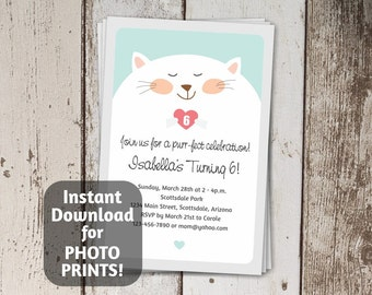 Cat Invitation for Birthday Party - Cute Fat Cat / Fat Kitty Printable Instant Download Digital File  - photo prints or card stock