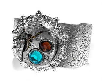 Steampunk Jewelry Steampunk Cuff WALTHAM Pocket Watch Etched Pattern Sterling TURQUOISE TOPAZ Crystals STUNNiNG Gift - Jewelry by edmdesigns