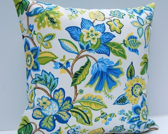 Blue Floral Pillow Cover, Blue, Yellow, Green Throw Pillow, Contemporary Cushion Cover, 18x18 Floral Throw Pillow