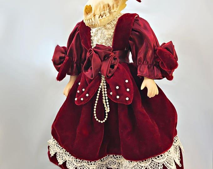 Fox Skull Victorian Doll