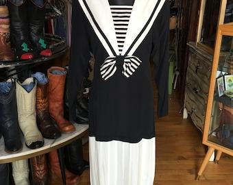 Retro 80's Black and White Dress Drop Waist Dress