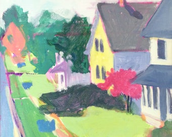 SALE Recycle Day on Federal #2 - 6x6 inches original acrylic plein air painting of a neighborhood street by Maryland artist Barb Mowery