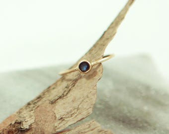 Dainty Sapphire Ring with 14kt Gold Band