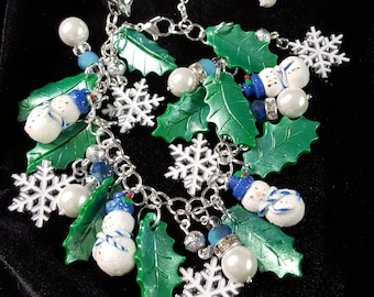 One of a Kind Christmas Charm Bracelet with Handmade Polymer Clay Snowmen and Leaves