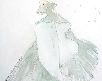 fashion illustration - black gown
