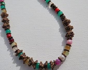 Dark copper beaded necklace