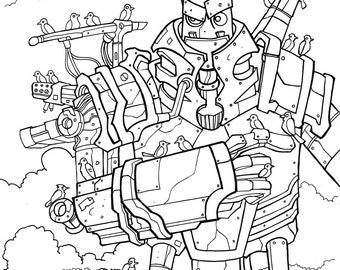 For the Birds Robot Original pen and ink illustration by Dennis A!