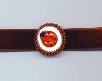 Beadwoven Ladybug Choker . Red Ladybug with Black Polka Dots . Beaded Ladybug Pendant. Round Ladybug. Garnet Velvet Choker. Ladybug Necklace