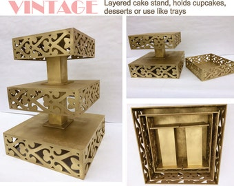 Layered cake stand can holds cupcakes , desserts or favors