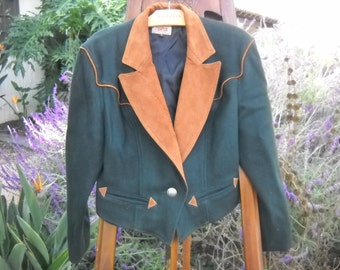 Forest Green Roping Cowgirl Wool Jacket Leather trim and Collar by Phoenix USA Frontier Size Large with Cowboy Signature