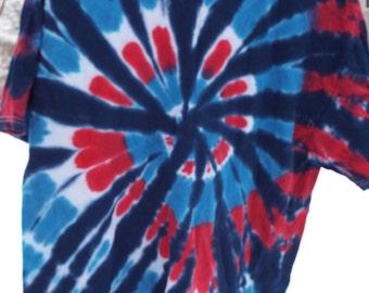 T-shirt red white and blue tye dye