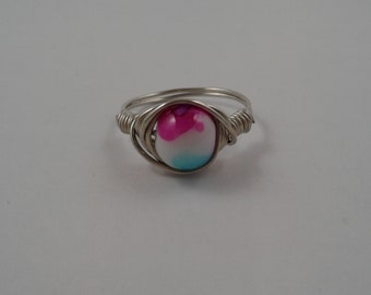 Pink & Blue Watercolor Wire Ring