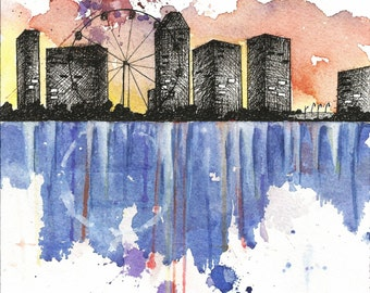 Ferris Wheel. Singapore. Cityscape. Skyline. Watercolor & Ink. Giclee Print