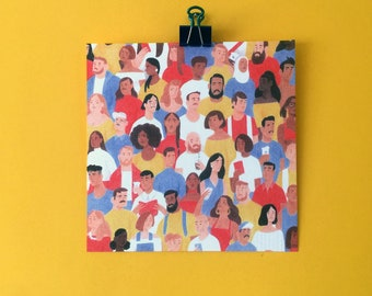 21x21cm Crowd Illustration Print