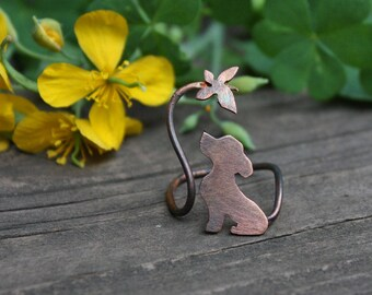 Dog Ring - Puppy Ring - Playing Dog Ring - Dog And Butterfly Ring - Copper Animal Ring - Dog Lover Ring - Dog Silhouette Ring