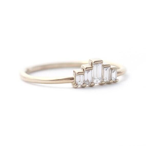 Baguette Engagement Ring Art Deco Engagement Ring Baguette