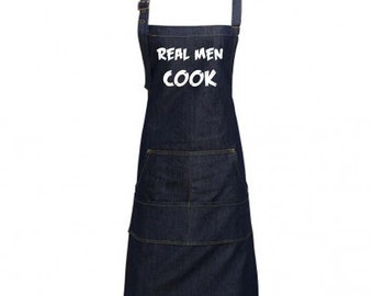 Fun Denim Cooking / BBQ Bib Apron, Real Men Cook, Unisex