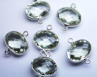 925 Sterling Silver,Natural Green Amethyst Faceted Oval Shape Connector,5 Piece of 19mm