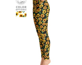 Sunflower Leggings | Yoga Leggings | Festival Leggings | High Waisted Leggings | Floral Leggings | Yogi Pants | Yogawear | Loopy Jayne