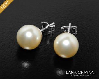 Bridal Pearl Stud Earrings Swarovski 8mm Ivory Pearl Wedding Earrings 925 Sterling Silver Pearl Studs Bridesmaid Earrings Prom Pearl Jewelry