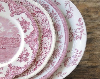 Mismatched Pink White Transferware Dinner Plates Set of 4 Replacement China Red Tranferware Plates Pink White Plates