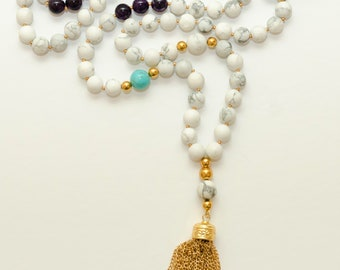 Howlite/Turquoise/Amethyst Life In Abstract Mala