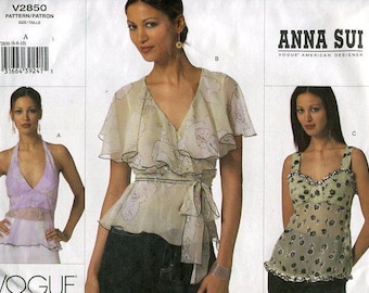 FREE US SHIP Vogue 2850 Anna Sui Wrap Blouse Halter Top 2005 Sewing Pattern Uncut Size 6 8 10 Bust 30.5 31.5 32.5 New