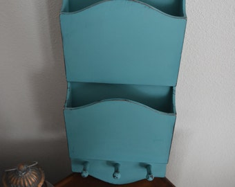 Hand Painted Wood Mail Paper Sorter Wall Office Organizer ~ Distressed  Aqua Blue  ~ Nautical Home Shabby Decor