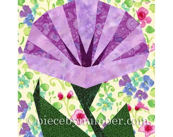 Morning Glory flower quilt block pattern, paper pieced quilt patterns, instant download PDF patterns, flower quilt patterns, flower patterns
