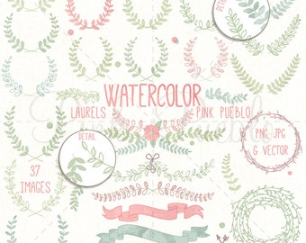 Watercolor Laurel Clipart, Laurel Wreath Clipart, Watercolor Clipart, Watercolor Flowers - Commercial and Personal Use