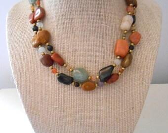 Vintage Natural Stone Boho Bead Necklace
