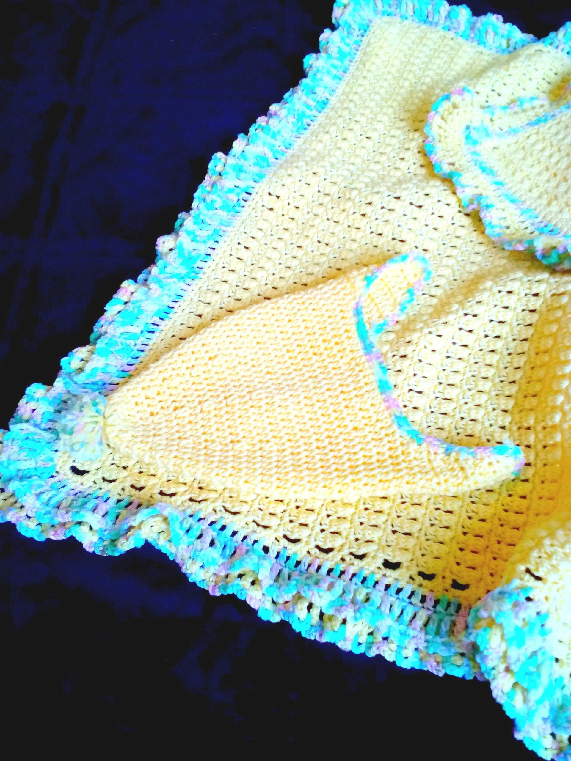 Gelbe Baumwolle Baby-Decke häkeln Rüschen Afghan