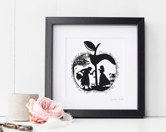 Square Snow White's Apple Papercut Print • Fairytale Wall Art • Paper Cut Quote • Fairy Tale Gift