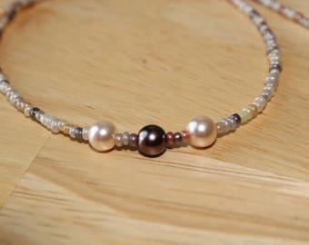 Three pearl seedbead necklace